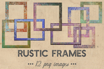 Rustic Frames Clipart, Vintage Wood Frames, Colorful Rustic Photo Frame