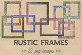 Rustic Frames Clipart, Vintage Wood Frames, Colorful Rusti