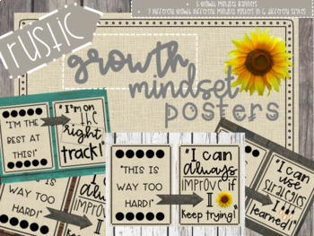 Rustic Farmhouse Growth Mindset Posters - 6 Different Styles