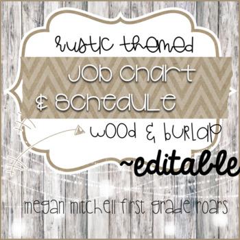Rustic Job Chart & Class Schedule: Burlap & Wood