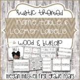 Rustic Classroom Decor Name Tags and Locker Tags