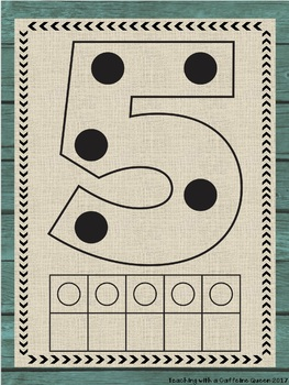 Rustic Numbers Posters with Counting Dots and 10 Frames (18 Styles)