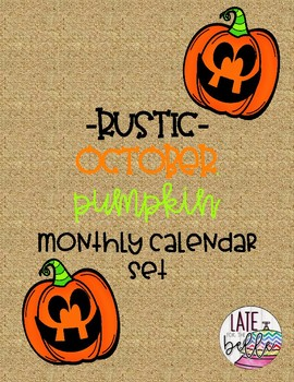 Rustic October Pumpkin Month Calendar Set