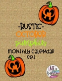 Rustic October Pumpkin Month Calendar Set