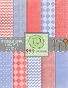 Rustic Periwinkle and Melon Digital Paper Background