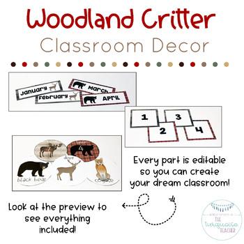 Rustic Plaid Woodland Critter Classroom Decor | Fully Editable Moose Deer
