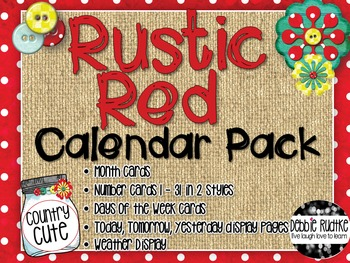 Rustic Red Calendar Pack - Red & White Dots, Burlap, Mason Jars
