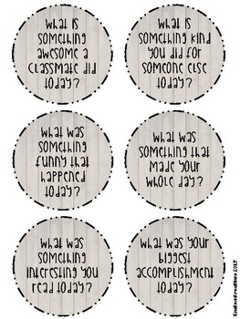 Rustic Reflection/End of the Day Questions + EDITABLE Templates