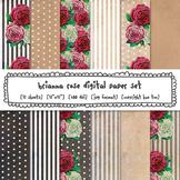 Rustic Roses Digital Paper, Stripes, Polka Dots, Black, White, Floral Patterns