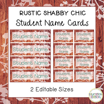 Rustic Shabby Chic Student Name Cards Freebie - Editable