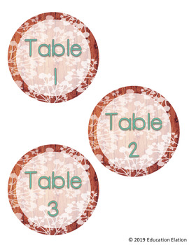 Rustic Shabby Chic Table Numbers