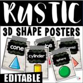 EDITABLE Rustic Shiplap 3D Shape Posters