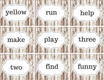 Rustic Sight Word Cards Dolch Pre-Primer