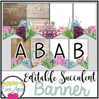 Rustic Succulent Shiplap Wooden Alphabet Bunting Banner