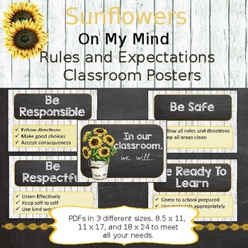Rustic Sunflower Themed Classroom Rules and Expecation posters