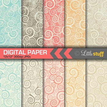 Rustic Swirls Digital Paper, Grunge Swirls Digital Backgrounds