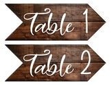 Rustic Table Number Arrows