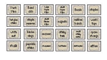 Rustic Classroom Decor Teacher ToolBox Labels