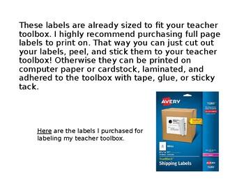 Rustic Teacher Toolbox Labels - Editable