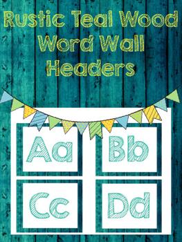 Rustic Teal Wood Word Wall Headers