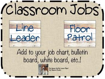 Rustic Theme Classroom Jobs