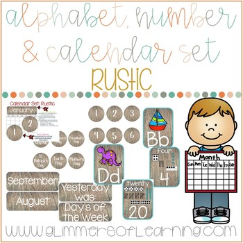 Rustic Themed Calendar and Alphabet Poster's in one!