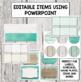 Rustic Turquoise Wooden Classroom Decor Set Editable