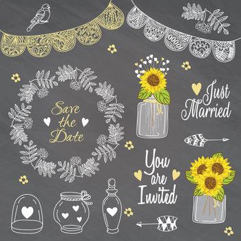 Rustic Weeding Clip art Lace Mason Jar Wreath Sunflower Save The Date Flowers