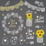 Rustic Weeding Clip art Lace Mason Jar Wreath Sunflower Sa