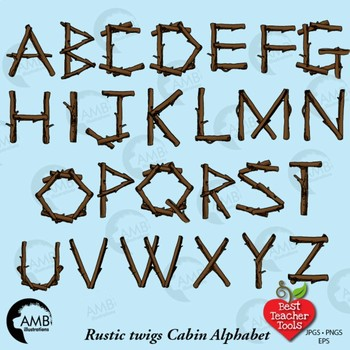 Rustic Wood Alphabet Clipart, {Best Teacher Tools} AMB-2425
