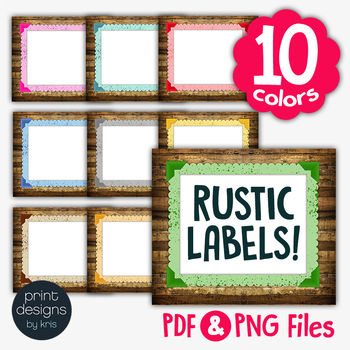 Rustic Wood Backgrounds, Borders & Labels 2nd Edition • Print Designs by Kris