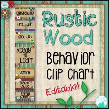 Rustic Wood Behavior Clip Chart -Editable