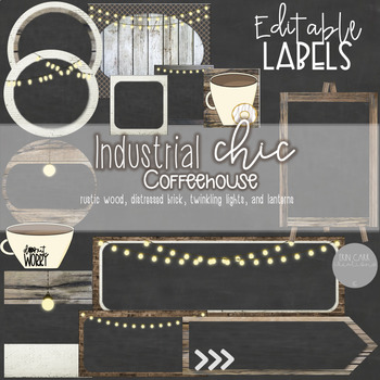 Rustic Wood, Brick, Lanterns, and Chalkboard - Industrial Chic Coffeehouse