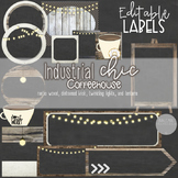 Chalkboard Editable Labels - Industrial Chic Coffeehouse C