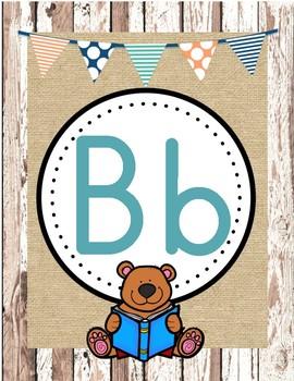 Rustic Wood Burlap Alphabet