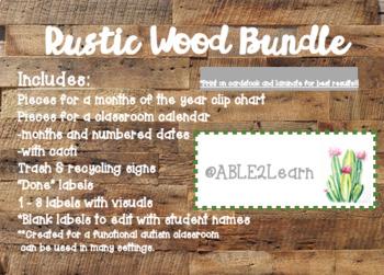 Rustic Wood Calendar & Labels