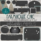 Rustic Wood, Chalkboard, & Burlap Classroom Decor Farmhouse Editable Labels