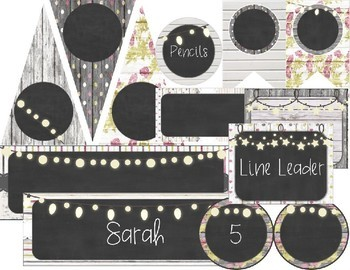 Rustic Wood, Chalkboard, and Charming Peonies - Farmhouse Chic Editable Labels