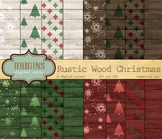 Rustic Wood Christmas Backgrounds Scrapbook Paper