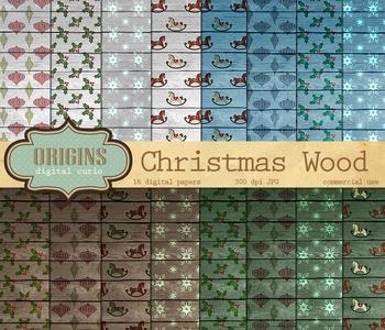Rustic Wood Christmas Digital Paper Scrapbook Backgrounds