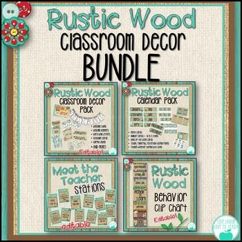 Rustic Wood Classroom Decor BUNDLE
