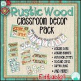 Rustic Wood Classroom Decor - Distressed Wood, Burlap, Mason Jars ~Editable~