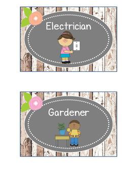 Rustic Woodland Classroom Job Cards