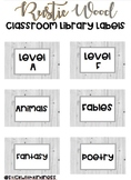 Rustic Wood Classroom Library Labels EDITABLE