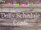 Rustic Wood & Pom Pom Daily Schedule Cards