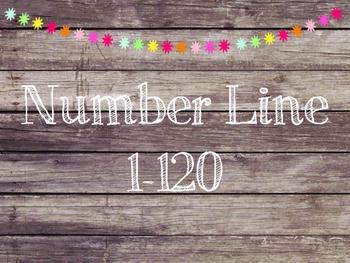 Rustic Wood & Pom Pom Number Line 1-120