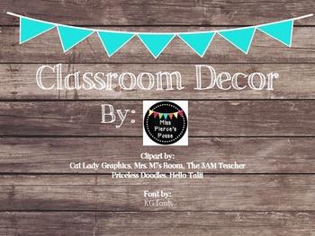 Rustic Wood & Teal Banner Classroom Decor Bundle