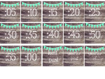 Rustic Wood & Teal Banner Clock Numbers