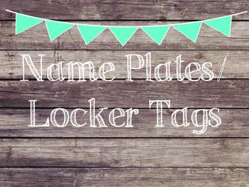 Rustic Wood & Teal Banner Name Plates-Locker Tags