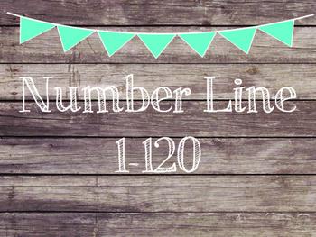 Rustic Wood & Teal Banner Number Line 1-120